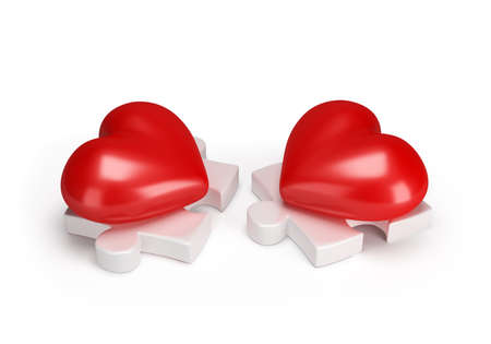 Puzzles and meeting of two lovers of hearts. 3D image. White background. 写真素材