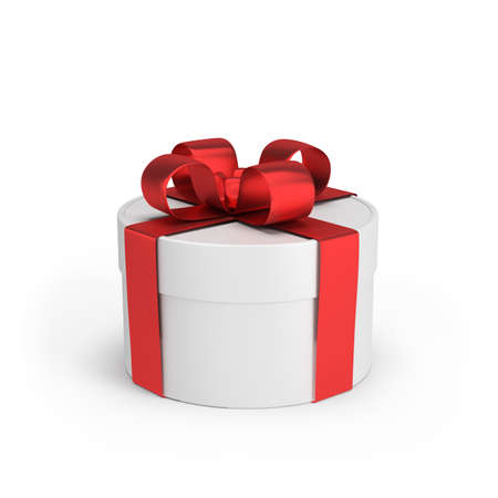 Round gift box with a red bow. 写真素材