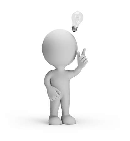 3d man with a light bulb over his head got the idea. 3d image. White background. Stock Photo