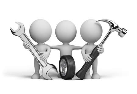 Three repairman with spanner, hammer and car tire. 3d image. White background. Archivio Fotografico - 111188602