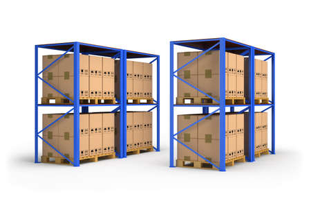 Storage racks for boxes. 3d image. White background.