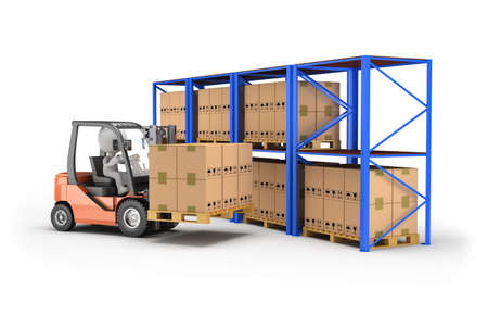 Loader loads boxes on racks. 3d image. White background.