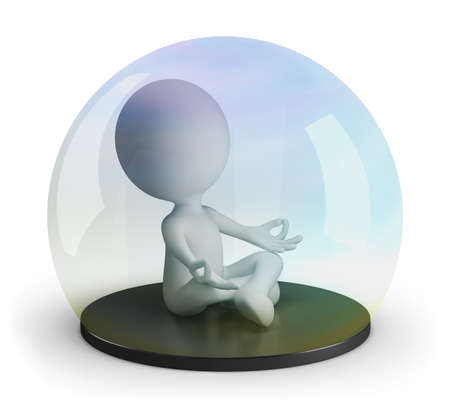 3d man meditates under a glass dome. 3d image. White background. Archivio Fotografico - 129403278
