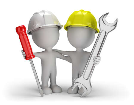 Two repairman with screwdriver and wrench. 3d image. White background.