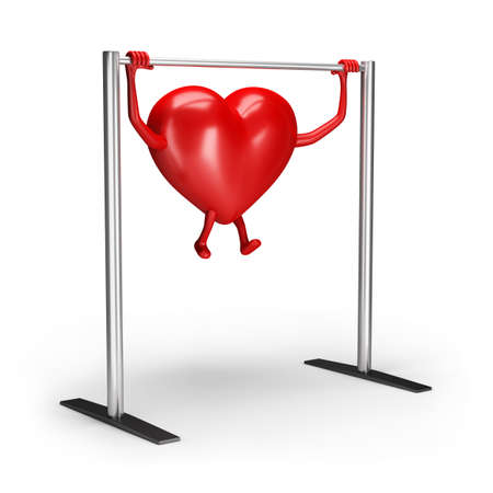 3d heart character does exercises on the crossbar. 3d image. White background. Archivio Fotografico - 129403282