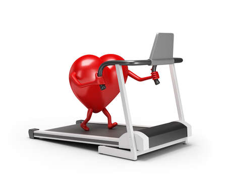 3d character heart trains on a treadmill. 3d image. White background. 写真素材