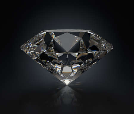 Large black diamond. 3d image. Dark background.