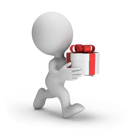 3d man with a gift box in a hurry for the holiday. 3d image. Isolated white background.