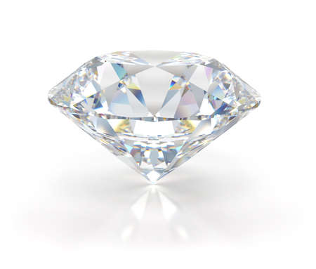 Large beautiful diamond. 3d image. Light background. Archivio Fotografico - 137046734