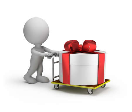 3d man rolls a big gift box on a trolley. 3d image. White background. Archivio Fotografico - 137559364