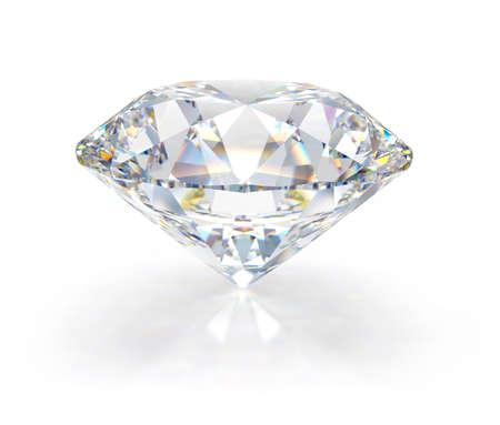 Large diamond jewel. 3d image. White background.