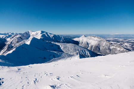 majestic: Mountain landscape with snow and clear blue sky
