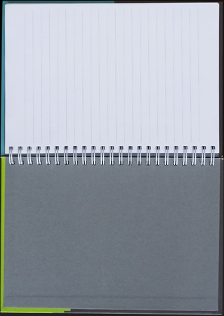 Notebook background in lines open view with  a spiral binding Stock Photo