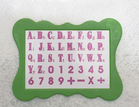 Board with the letters ABC in English with a green border