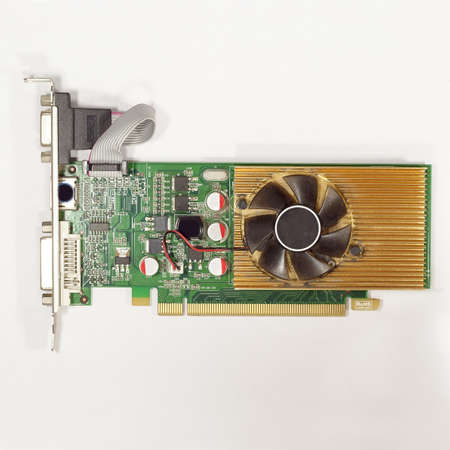 PC videocard   computer  graphic card    with a side of the fan Stock Photo