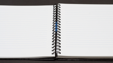 Notebook background in lines open view with  a spiral binding Stock Photo - 16852299