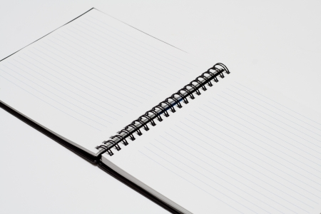 Notebook background in lines open view with  a spiral binding Stock Photo - 16852301