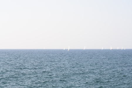 yachts on the waves of a sea landscape Stock Photo - 17170493