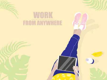 Vector poster Work from everywhere. Drawn in flat style, in bright colors.Girl with a tablet and pen, next to bananas and a bottle.Top view on a beige background. For design companies, freelance work.