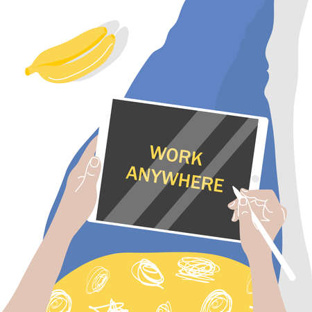 Vector poster Work from anywhere. Drawn in flat style, in bright colors.Girl with a tablet and pen, next to bananas and a bottle.Top view on a gray background. For design companies, freelance work. 向量圖像