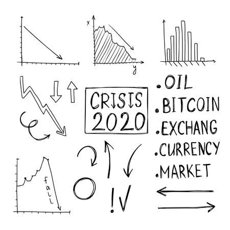 Vector Set of Crisis Charts. Drawn by hand in doodle style with a black outline isolated on a white background. For use in business, design, presentation design