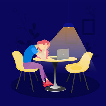 Vector illustration in flat style. A woman sits at a table opposite a laptop at night. Problems with working online. Depressed state from being at home. A lonely woman procrastinates at the computer.  イラスト・ベクター素材