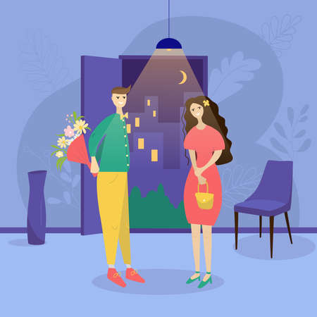Date of a happy couple in a hall. Romantic meeting of man and woman. A man with flowers meets a woman on a date in the hallway of the house. Concept of a romantic dating in a flat style.
