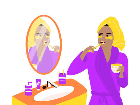 A black woman in a turban and a dressing gown stands at the mirror and brushes her teeth, holds a mug in her hands. Daily morning routine, care for teeth and beauty. Colorful vector flat illustration.