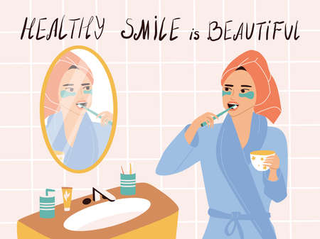 A cute girl in a turban and dressing gown stands at the mirror and brushes her teeth, holds a mug in her hands. Daily morning routine, dental care and beauty. Vector poster with motivational text. 向量圖像