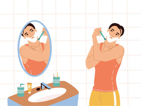 Daily morning routine of a man. A young man in a T-shirt and shorts stands by the mirror in the bathroom and shaves. Male character of a man taking care of himself. Colorful vector flat illustrations.