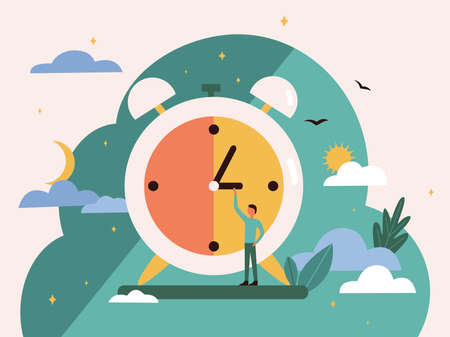 A tiny man behind a round clock sets the time. The natural change of day and night. Routine change of time of day. Vector colorful illustration in flat style. The daily routine of a person in life.