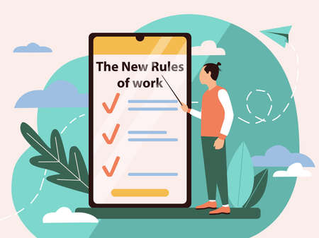 Illustration New rules of work in a flat style. Concept of new work rules after quarantine on a mobile phone and a male character pointing to this. For business design, applications after quarantine.