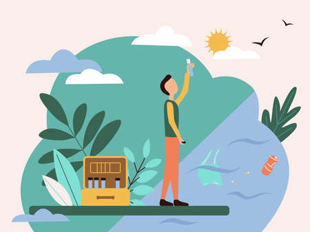 A scientist man stands with a test tube in his hands at a polluted reservoir next to him a suitcase with test tubes. Flat style illustration on the theme of pollution of water, oceans, seas and rivers.