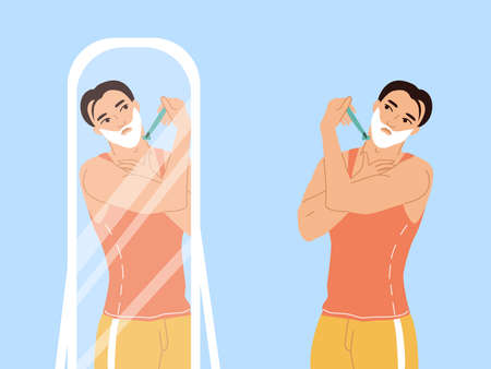 Daily morning routine of a man. A young man in a T-shirt and shorts stands by the mirror and shaves. Male character of a man taking care of himself. Colorful vector flat illustrations.