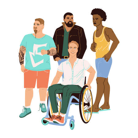 A group of 4 men drawn in a cartoon style. Men of different nationalities, skin color, hairstyles, appearance and complexion. A man in a wheelchair. Fashion illustration of different men in flat style
