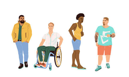 A group of 4 men drawn in a cartoon style. Men of different nationalities, skin color, hairstyles, appearance and complexion. A man in a wheelchair. Fashion illustration of different men in flat style Ilustración de vector
