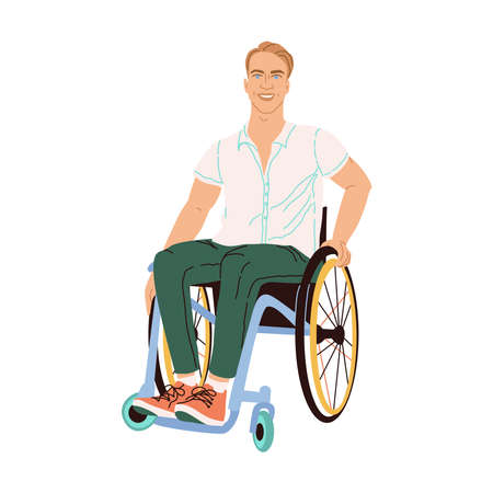 Illustration of a man with blond hair and blue eyes in a wheelchair. Paralyzed man model drawn in flat style isolated on white background. Smiling vector male character with special needs.