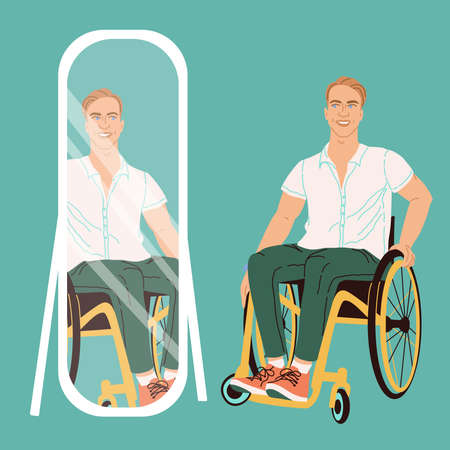 Illustration of a man with blond hair and blue eyes in a wheelchair at the mirror. Paralyzed man model in flat style isolated on white background. Smiling vector male character with special needs. Иллюстрация