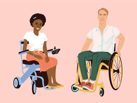 Couple man and woman on a wheelchair. Flat style illustration. African American woman and white man with disabilities. Life without limits for paralyzed people. Design of volunteer organizations. Иллюстрация