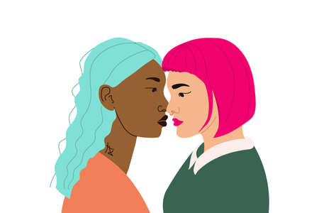 Illustration banner with two girls in love. Lgbt community for lesbians. Poster with representatives of the lgbt community. Rights for free relationships of non-traditional couples. Tolerance for Lesbian couples.