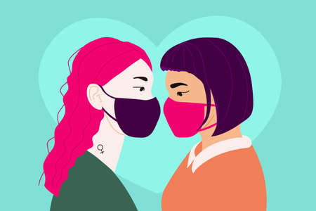 Illustration banner with two girls in love wearing masks. Lgbt community for lesbians. Poster with representatives of the lgbt community. Rights for free relationships of non-traditional couples.