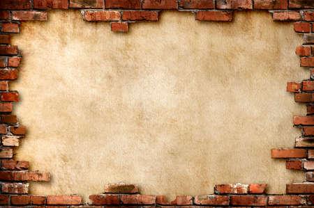 붉은 벽돌의 프레임으로 둘러싸인 지저분한 양피지 종이 배경 클리핑 패스와 함께 격리