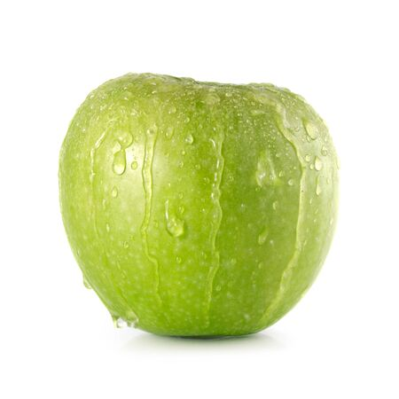 Green Granny Smith apple with water droplets running over it Isolated on white background Stock Photo - 28790877