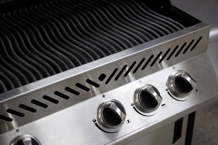 Stainless steel barbecue closeup