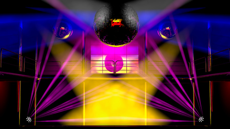 0bf512d98 Foto de archivo - Interior del club de noche con focos de colores, rayos  láser y brillantes bolas de discoteca espejo artístico espectáculo de luz
