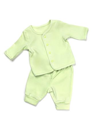 eb25d58b16 Algodón conjunto de pijama verde del bebé aislado en el fondo blanco Foto  de archivo -