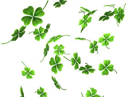 3D illustration of falling shamrock leaves Saint Patrick's day symbol isolated on white background