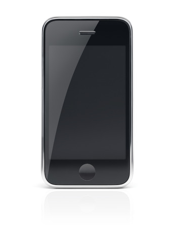 Black modern smartphone, cell phone with clear screen isolated with clipping path on white background Imagens