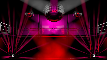 Nachtclub interieur met kleurrijke spots, lasers en lichtend spiegel discoballen artistieke lichtshow Stockfoto - 28767161
