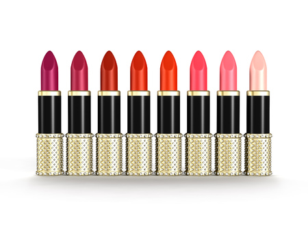 A palette of luxury lipstick tubes of colors ranging from purple, red to pink isolated objects on white background